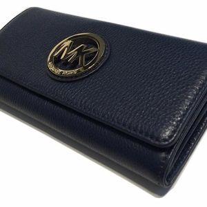 Michael Michael Kors Navy Leather Fulton Wallet